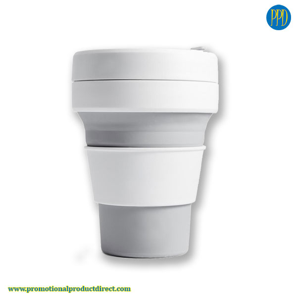 grey promotional product collapsible folding silicone coffee cup