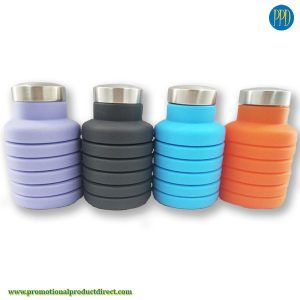 inexpensive logo ready silicone water bottle folding and collapsible