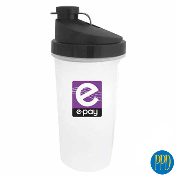 Protein shaker bottle. Budget minded screw top shaker bottle and water bottle. 10 colors. Great promotional gift for fitness business opening. Promotional Product Direct