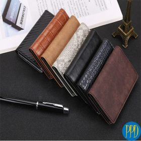 Get your promotional or business logo on a custom leather RFID blocking wallets for the New York and New Jersey business to business and promotional product marketer.